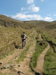 Mike climbing to Edale Cross.