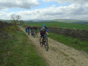 Justin and Geraint leading the pack on the Wethercotes double track.
