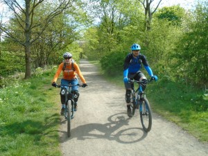 Maile and Geraint on the Sett Valley trail.