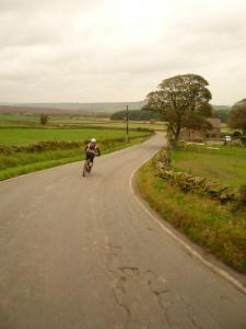Brian flying down the Fulwood Lane descent.