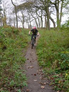 Brian on the singletrack at the top of Blacka Moor Plantation.