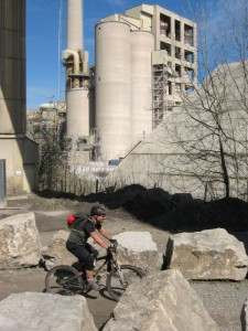 Steve riding past Hope cement works.