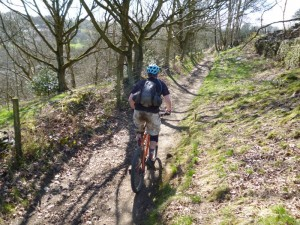 Dan starting the Pennine Bridleway descent to Birch Vale.