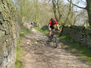 Nick and Sabine descending to Birch Vale.