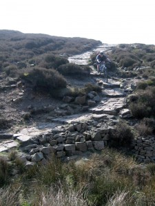 Paul descending the stone steps on Middle Moor.