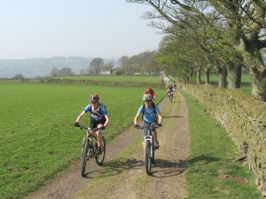 Sabine and Sally on the climb after Mellor Hall.