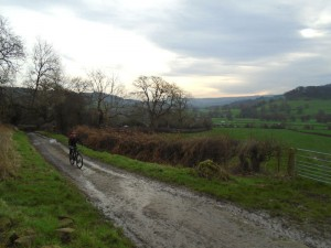 Graham starting the off road climb from Rowsley.