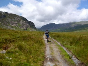 Chris riding up the Ogwen Valley.