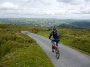 Chris starting the descent into the Conwy Valley.