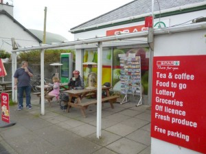 Hot chocolate at the Dolwyddelan Spar.