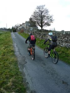 Karl and Brian climbing through Washfold in the Yorkshire Dales.