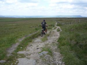 James descending from Gorple Stones.