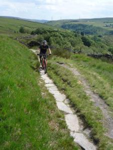 James climbing the packhorse trail to Rake End on the Pennine Bridleway.