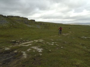Graham climbing to Sulber Gate on the Pennine Bridleway.