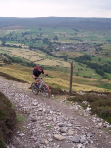 Paul climbing Fremington Edge above Reeth.
